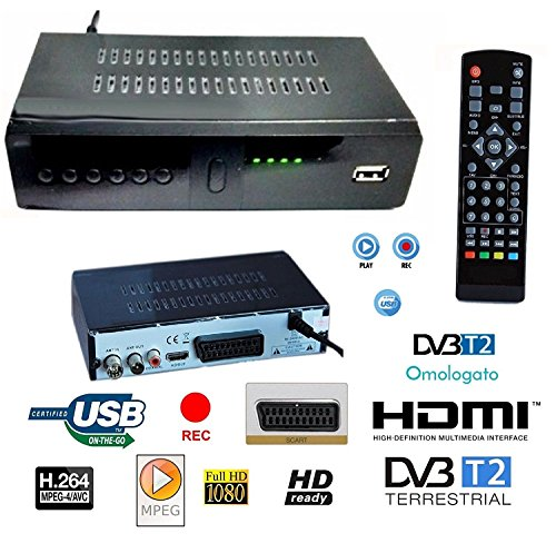 DECODER RICEVITORE DIGITALE TERRESTRE HD-999 DVB-T2 TV SCART HDMI 1080P REG PVR HD