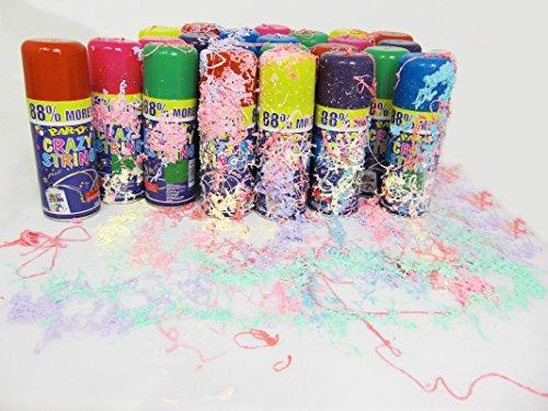 Markenlos 24 Stück Party Luftschlangen Spray Karneval Geburtstag Hochzeit feiern Dekorieren versch. Farbe Schlangenspray Sprühschlangen