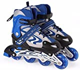#4: Inline Four Wheel Skates Aluminium Body with Chassis Speeder Adjustable Length (Color : Blue)