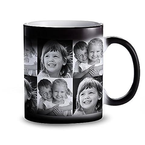 Tasse – Schwarzer Becher mit Farbwechsel-Effekt - Personalisiert mit Fotos – Individuelle Zaubertasse mit Thermoeffekt als Geschenkidee für Männer und Frauen – Magische Kaffeetasse
