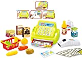 Brigamo 15379 - 26 teilige Kaufladen Kasse Registrierkasse mit Licht & Sound und Zubehör Einkaufskorb mit Spielzeug Obst und Gemüse (grün)