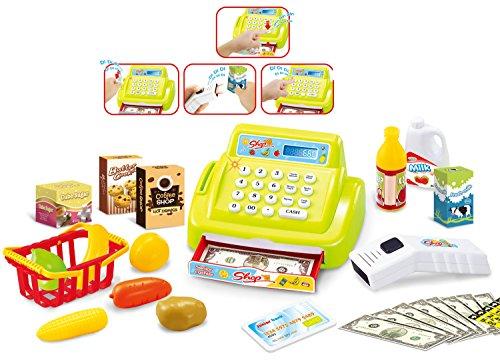 Brigamo 15379 - 26 teilige Kaufladen Kasse Registrierkasse mit Licht & Sound und Zubehör Einkaufskorb mit Spielzeug Obst und Gemüse (grün) thumbnail