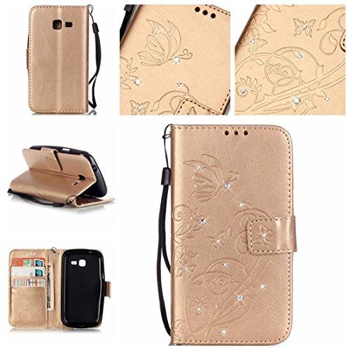 Nancen Samsung Galaxy Trend Lite s7392 (4 pouces) coque , PU Cuir Portefeuille Etui Housse Case Cover , carte de crédit Fentes pour , L'utilisation de la technologie de pointe , gaufrage , cristal de diamant - Fleur - Butterfly , idéal pour protéger votre téléphone ,