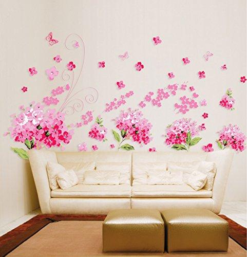 Rose Cherry Blossom fleurs papier maison autocollant mural amovible Cuisine Salon Salle à manger Chambre Art Picture murals DIY Stick filles garçons enfants jeux chambre bébé Décoration