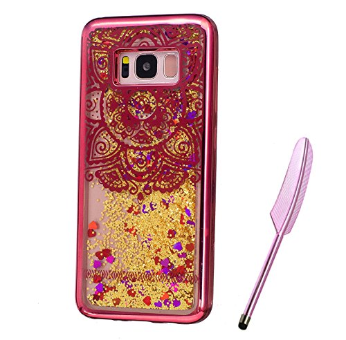 Galaxy S8 Plus Case, Red Plating Design, Edaroo 3d Cool Flowing Liquid Bling Sparkle Golden Glitter Style Beautiful Totem Mandala Pattern Slim Thin Fits Soft Rubber TPU Bumper Protective Case Cover for Samsung Galaxy S8 Plus