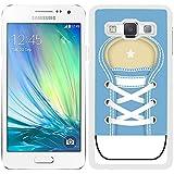 Funda carcasa para Samsung Galaxy A5 diseño zapatilla cordones color azul borde blanco