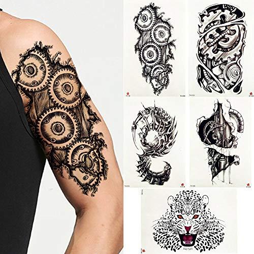 Temporäre Tattoos Aufkleber Roboter Mechanische Arm Tattoo Temporäre Aufkleber Zahnrad Schraube Bleistift Skizze Schwarz Tattoo Gap Body Art 3D Gefälschte Tätowierungen Für Männer