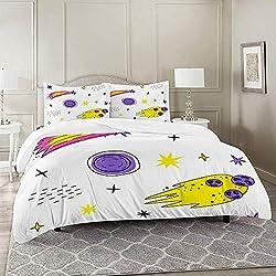 DIIRCYB Bettbezug-Bettwäsche,Farbe Nahtlose Muster mit Weltraumelementen Meteoriten und Kometen Doodle-Stil,Mikrofaser-1 Bettdecke-Bettlaken 240×260CM und 2 Kissenbezüge 50×80CM