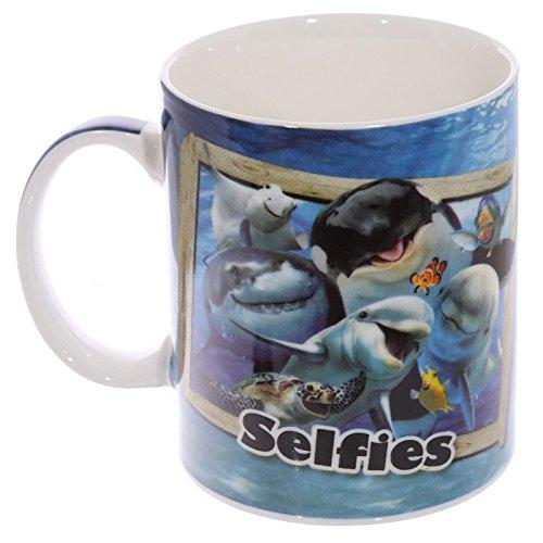 Puckator MUG233Tasse Design Selfie Tiere des Meeres Porzellan beige/blau/schwarz/grau