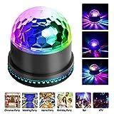 Mini Bola Discoteca Luces RGB 48 LEDs con Crystal Magic Bola Giratoria Efecto LED Escenario Luces para Navidad Fiesta Boda Bar Cumpleaños