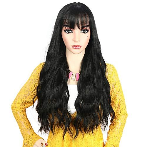 Woman Wig Corn Hot Long Curly Hair Wig Fashion In The Air Bangs Matte High Temperature Silk Full Wig Headband with Hair Net,Black