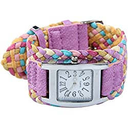Fashion Candy Color Braided Plaited Rope Strap Wrap Quartz Lady Purple Wrist Watch
