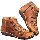 Moneycom - Stivaletti da donna in pelle piatta, stile casual, con lacci, con zip laterale, rotondi, colore marrone marrone 38 EU