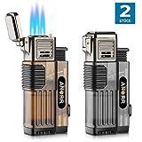 [2-Pack] Cigar Lighter, Torch Lighter Cigarette Lighter Adjustable 3 Jet Flame Refillable Butane