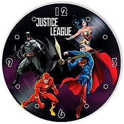 MiraG Justice League Horloge Murale en Vinyle Peint Batman, The Flash, Superman, Wonder Woman - Cadeau Unique pour Les Fans de Comics Justice League - La Meilleure décoration d'intérieur