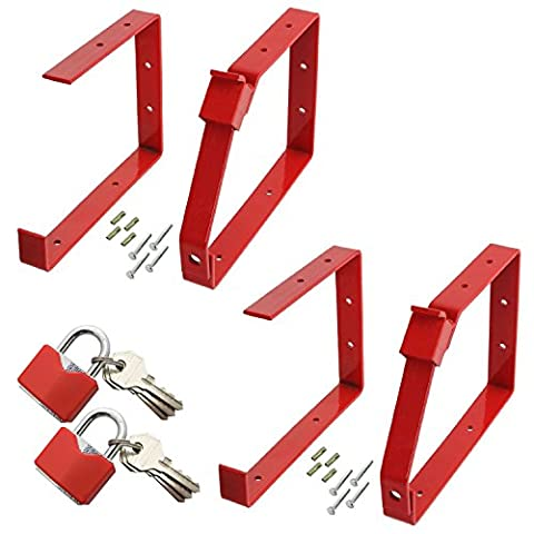 SPARES2GO Universal Lockable Wall Ladder Rack Brackets & Padlock Set (Red, Pack Of 2 Sets)