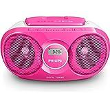Philips AZ215C Lecteur CD,CD-R,RW Portable, Facile à Utiliser pour Enfants, avec Radio FM, Entrée Audio, Rose et Blanc