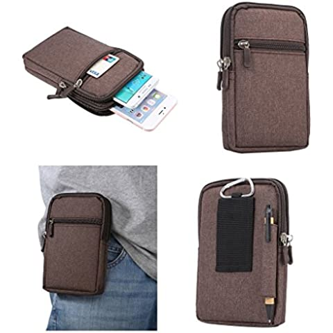 DFV mobile - Universal Multi-functional Vertical Stripes Pouch Bag Case Zipper Closing Carabiner for => Explay Atom > Brown (17 x 10.5 cm)