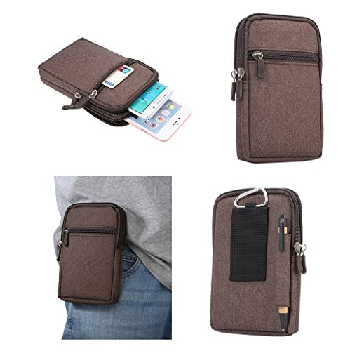 DFV mobile - Universal Multi-functional Vertical Stripes Pouch Bag Case Zipper Closing Carabiner for => HTC Aria > Brown (17 x 10.5 cm)