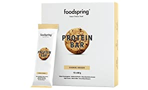foodspring Protein Bar en pack de 12, Cookie Dough, Nueva receta, más placer, Fabricada en Alemania