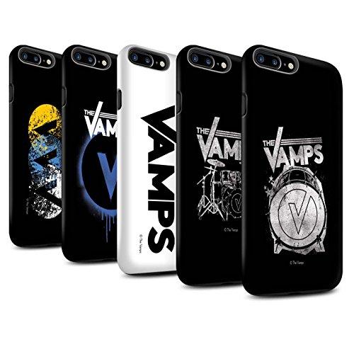 Officiel The Vamps Coque / Matte Robuste Antichoc Etui pour Apple iPhone 7 Plus / Bleu V Design / The Vamps Graffiti Logo Groupe Collection Pack 6pcs