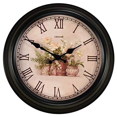 YHEGV Wanduhr aus Metall im amerikanischen Stil Lounge Leise Wanduhr Uhren Black Art von Eisen 16 cm-I