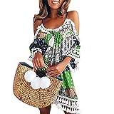 TUDUZ Glands de Robe de Bohême, Robes de Cocktail de Partie de Plage de Vacances de Femmes épaule Dos Nu imprimé(Vert,EU-38/CN-L)