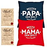 Geschenke Set Weihnachtsgeschenk Mama Papa 2 Sofa Kissen mit Füllung Beste Mama der Welt Bester Papa der Welt Größe 40x40 cm dazu 2 passende Urkunden
