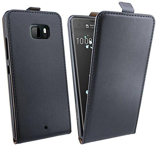 HTC U ULTRA // Handytasche Schale Cover Etui Bag Flip Style in Schwarz Klapptasche Hülle @ Energmix