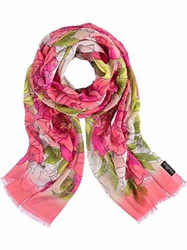 Floral Print Schal (FRAAS Damenschal Schal mit Floral-Print, 58 x 178 cm, Viskose, Made in Italy Koralle)