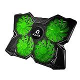 KLIM Wind Laptop-PC Kühler – Leistungsstark wie kein anderer – Schneller Kühlvorgang - 4 Lüfter Belüfteter Notebookständer Gamer Gaming Stützhalterung (Grün)