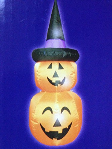 Stacked Pumpkins with Witch Hat Halloween 4ft Inflatable Yard Decor by Huntington Home (Yard Inflatables Halloween)
