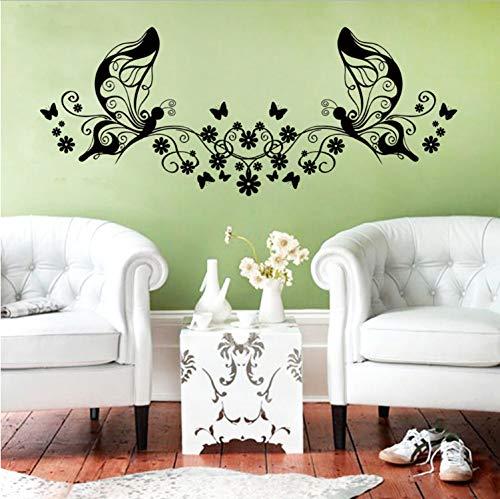 Topzt Wandaufkleber Neueste Blume Schmetterling Wohnkultur Für Wohnzimmer Aufkleber Hochzeit Dekoration 3D Wallpaper 83X42 cm