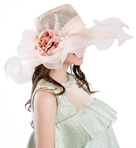 Derby Hüte Für Frauen Urlaub Organza Fascinator Britische Tee-Party-Hochzeits-Kleid-Kappe Mysterious UPF 50+ Beige (Kentucky Derby-hüte Damen)