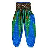 TUDUZ Thai Hippie Hose Hosenrock Haremshose Pumphose für Damen & Herren (Blau, S-L)