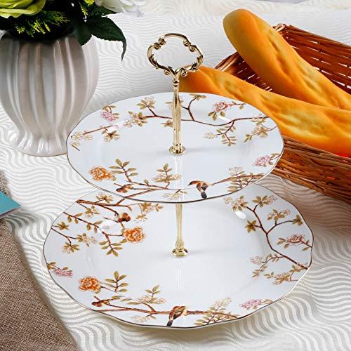 gfjfd Europäische Bone China Doppelte Kuchenschale Zu Hause Nachmittagstee Snack Platte Obstplatte Vielzahl Von Bildschirmen Robin
