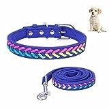petacc Hund Leine und Halsband Set Mikrofaser Pet Leine Colorful Pet Halsband für kleine Hunde, Set 2, Lila, S