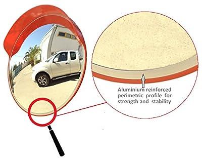 JCM-45o Konvexen unzerbrechlich Verkehrsspiegel, Durchmesser 45 cm, für Straßenverkehrssicherheit und die Sicherheit Shop mit einstellbarer Befestigungsbügel für die Pole 48 mm