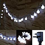10M 100 Safe Voltage LED Globe String Fairy Lights 8 Modes Plug In Twinkle Waterproof Transparent String Cable Light for Bedroom, Party, Festival, Garden, Patio, Wedding Decor (White)
