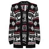 Amberclothing Made by Blush Avenue® Ladies Mens Long Christmas Reindeer Retro Jumper Sweater Knit Snow Cute Xmas S - XL (Black Fair Isle Cardigan, Medium/Large)