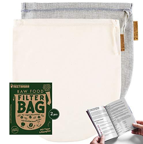 NECTARBAR Eco Nussmilchbeutel Made in Germany Mixpack Handgefertigte Filterbeutel Natur Leinen + Baumwolle für vegane Nussmilch, Abseihen, Entsaften 100{2e95cf7ea63f7d06a109882bfc132bceee34c7d05365ae5b7290acfcb887c3a2} Plastikfrei RAW Food Filter Bag mit Anleitung