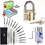 Lock Picking Set 21 Pieces - Clear Transparent Padlock and Credit Card Lock Pick Tool Kit for Beginners | Unlocking Practice Guide and Free E Book for Masters | Lock Pick Extractor Full Set