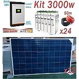 Kit Solar 48v 3000w Hora Inversor 5000va MPPT 60A Bateria 6 TopzS 750-975Ah 2V
