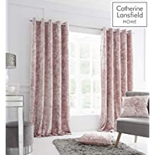 Catherine Lansfield Crushed Velvet 66 x 54 Inch Eyelet Curtain Pair Blush