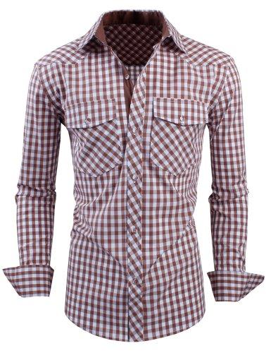 HRYfashion -  Camicia Casual  - Uomo Marrone