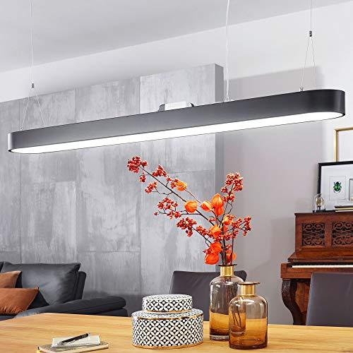 Wohnling LED-Deckenleuchte LINE Matt schwarz Metall EEK A+ Büro-Deckenlampe 48 Watt 120 x 121 x 15 cm | Design Arbeitsplatz Hängelampe 4080 Lumen kaltweiß ohne Schirm | Office Pendellampe IP20
