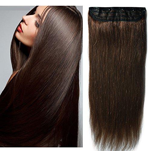 40cm-55cm 1 fascia folta 5 clips larga 25cm extension capelli veri clip umani remy human hair 3/4 full head allungamento coda - 55cm 100g 02# marrone scuro