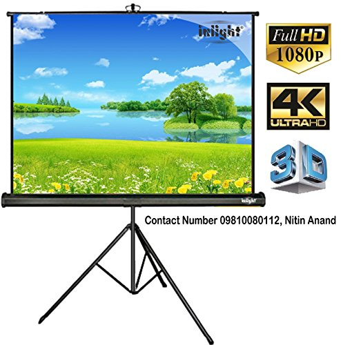 Inlight Cineview Series Tripod Type Projector Screen 7 Ft. (Width) x 5 Ft. (Height), Comes with Tripod Stand, Supports 3 D and Full HDTV Format