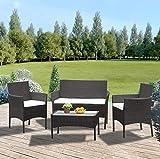 Anaelle Panana insieme tavolo in vetro + 3sedie in rattan pvc moderno-Impermeabile all' acqua-resistente ai raggi UV per giardino, balcone, terrazza, peso: 25kg