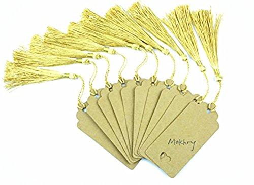 makhry 100pcs Vintage rigida Segnalibri in Carta Kraft carta regalo Tag Wedding Favor Bonbonniere Favor Handmade seta con nappe (rettangolare)